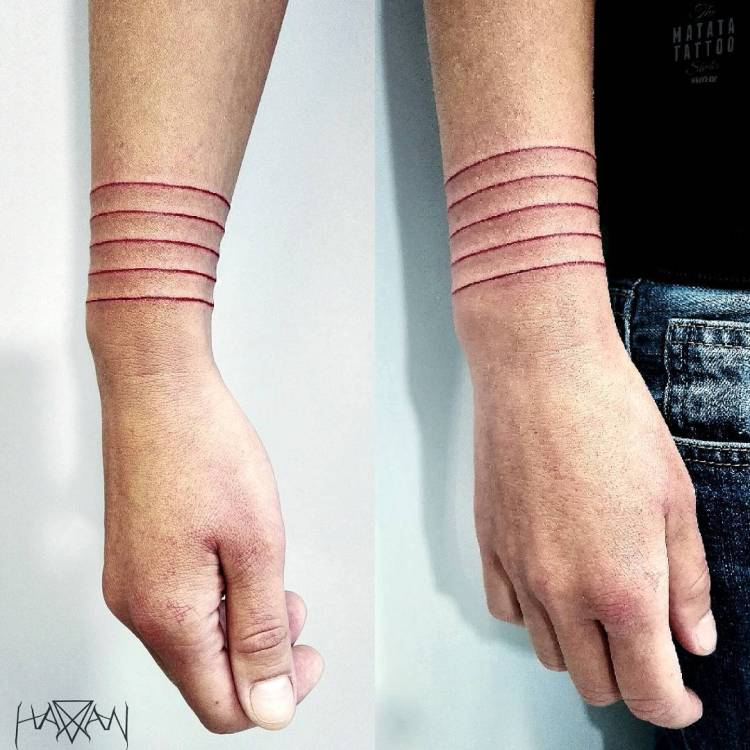 Men Arm Cover Up With Amazing Red Armband Tattoo
