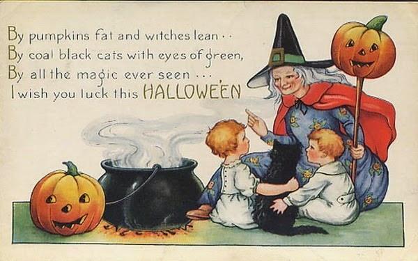 Outstanding vintage halloween witch boy girl black cat cauldron pumpkins