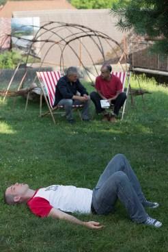 Greg Gilg, au sol, Michel Mandel et Antonio Placer