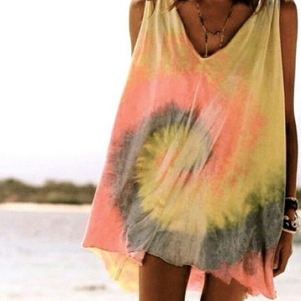 Dress Tie Dye Faded Loose Comfortable Clothes Beach