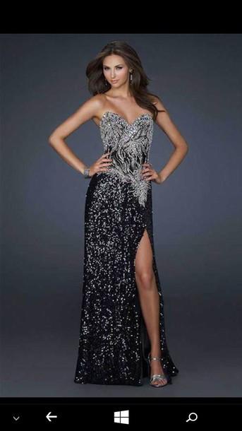 Dress Prom Dress Black And Sliver Color Slit Dress