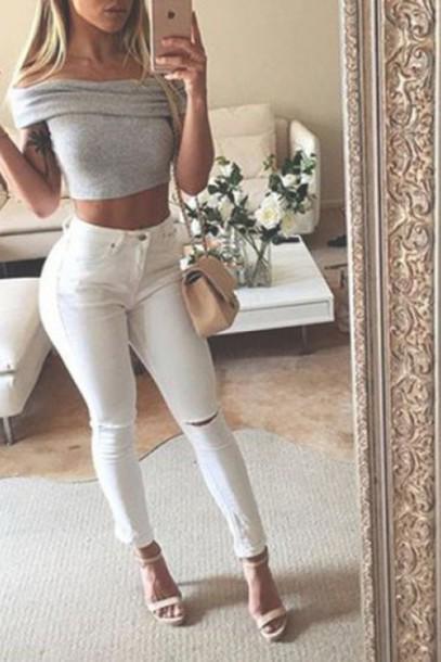 Jeans Zaful Instagram Streetwear Grey Off The