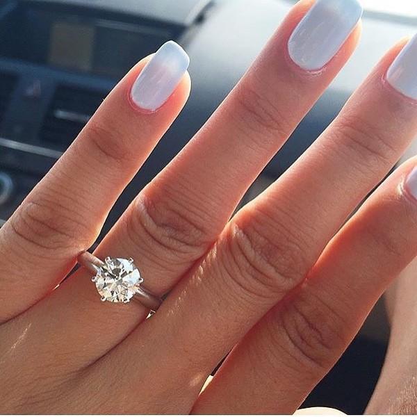 Ring Diamonds Engagement Ring Shiny Nails Hand