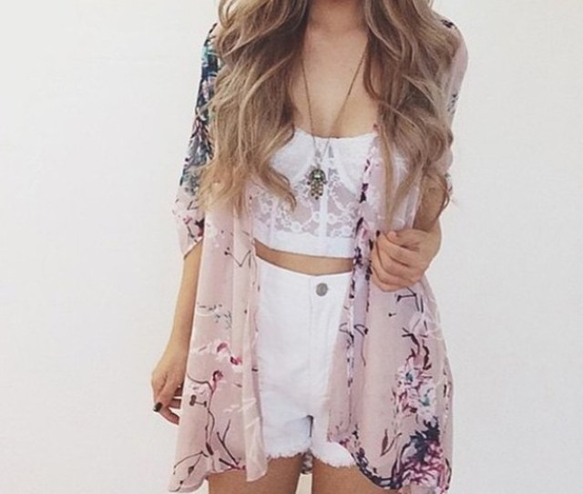Cardigan Floral Kimono Summer Outfits Tumblr Outfit Spring Outfits Spring Break