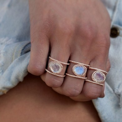 Awesome Gold Double Band Ring   Best Jewelry gold and diamond Double Band Moonstone ring     Luna Skye by