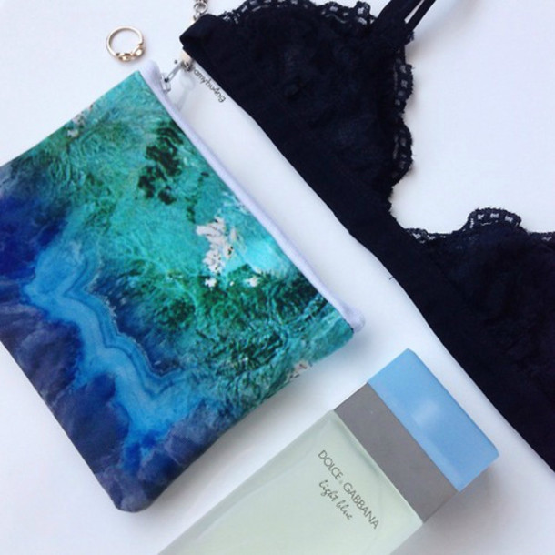 Bag Summer Beach Sea Wedding Ring Black White Blue