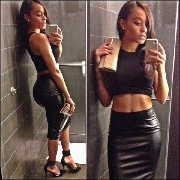 High Waisted Leather Pencil Skirt - Skirts