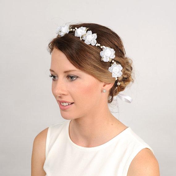 Wedding Flower Headband White Floral Crown Woodland