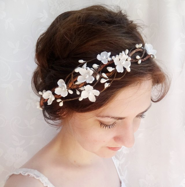 bridal hair accessories, wedding flower headpiece, white flower crown, circlet -whimsy- rustic wedding flower crown, ivory hair accessory