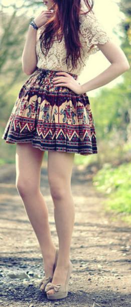 Shirt Lace Shirt White Lace Aztec Aztec Skirt Skirt