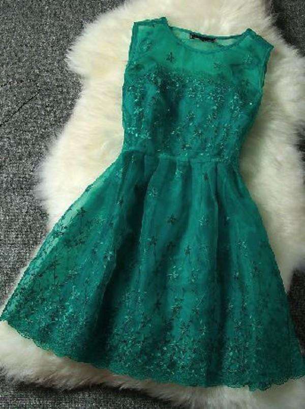 Dress Winterball Emerald Green Prom Dress Knee Length