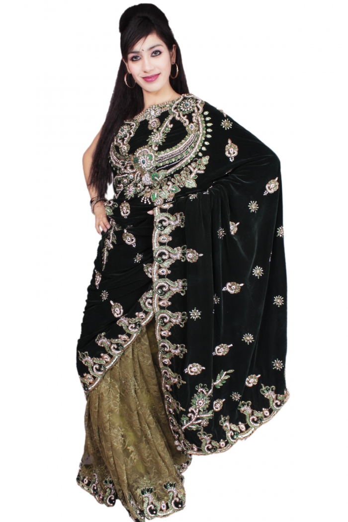 Sarees This Combination Of Dark And Light Green Color