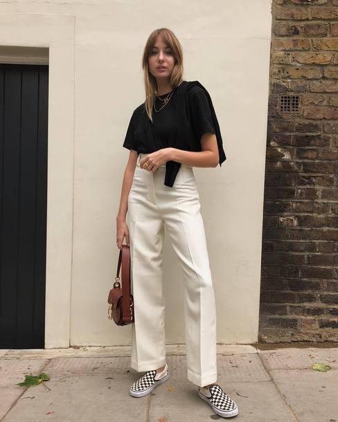 shoes checkered slip on shoes wide-leg pants white pants high waisted pants black t-shirt handbag