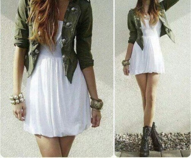 Image result for military jacket with dress