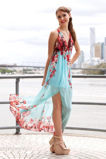 Dress Mint Red Floral Maxi Slit Backless Sheer