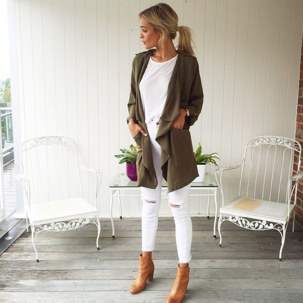 Image result for military jacket and white jeans