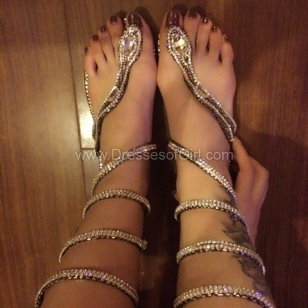 Shoes Snake Slippers Sandals Rhinestones Gold