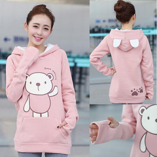Sweater Kawaii Hoodie Jumper Cute Pink Trendy Fall