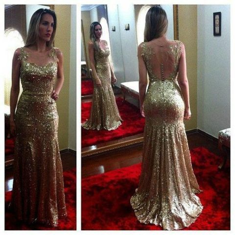 Sparkly Strapless with Starps Sleeveless Gold Fully Sequined Mermaid     Sparkly Strapless with Starps Sleeveless Gold Fully Sequined Mermaid Prom  Dress 2014 Backless Cheap Elegant Evening
