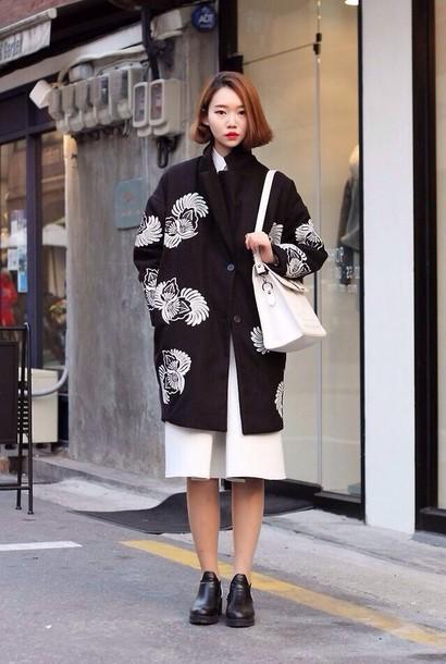 Bag Jacket Black White Japanese Asian Chinese Coat