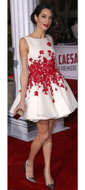 Amal Clooney White Floral Dress