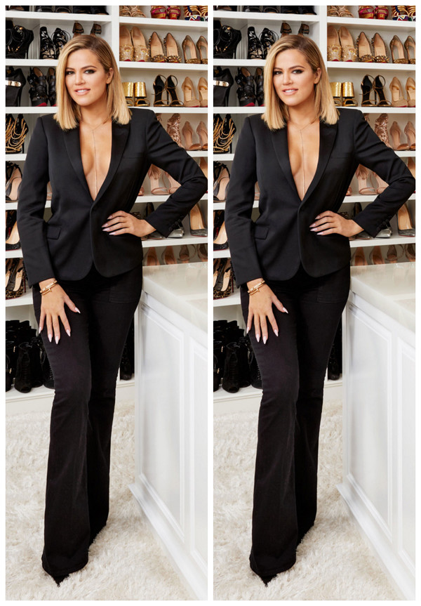 Pants Blazer Suit Plunge V Neck Khloe Kardashian