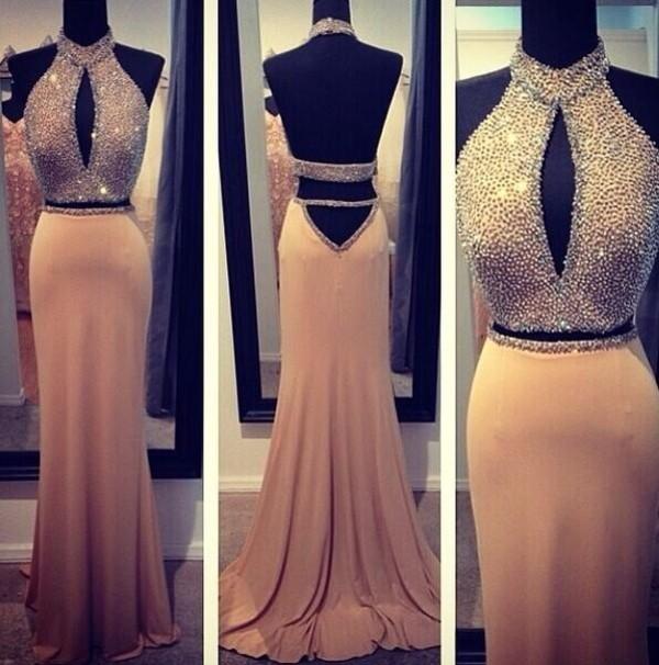 Champagne Prom DressLong Prom DressesBlue Dresses