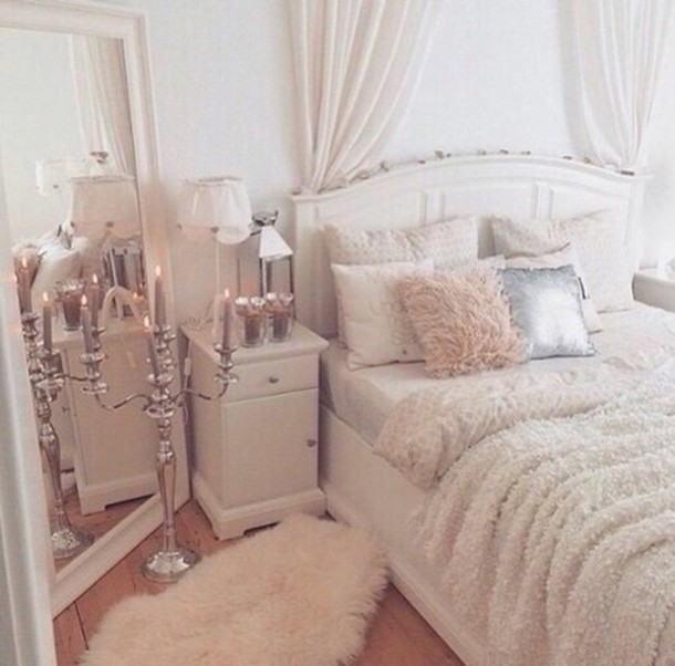 home accessory: mirror, white, rug, white furry rug, bedroom