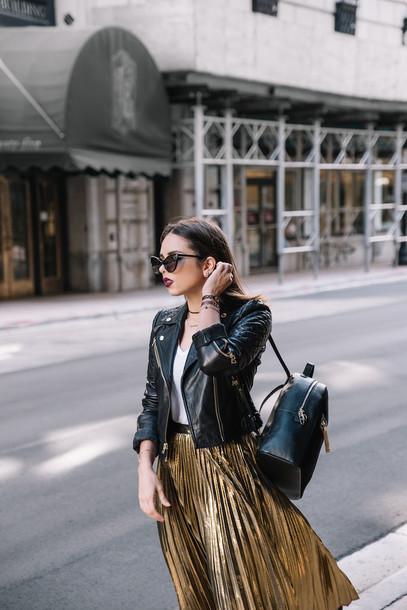 skirt, tumblr, midi skirt, gold, gold skirt, metallic, metallic skirt,  pleated, pleated skirt, metallic pleated skirt, top, white top, jacket,  black jacket, leather jacket, backpack, black backpack, sunglasses, cat eye  - Wheretoget