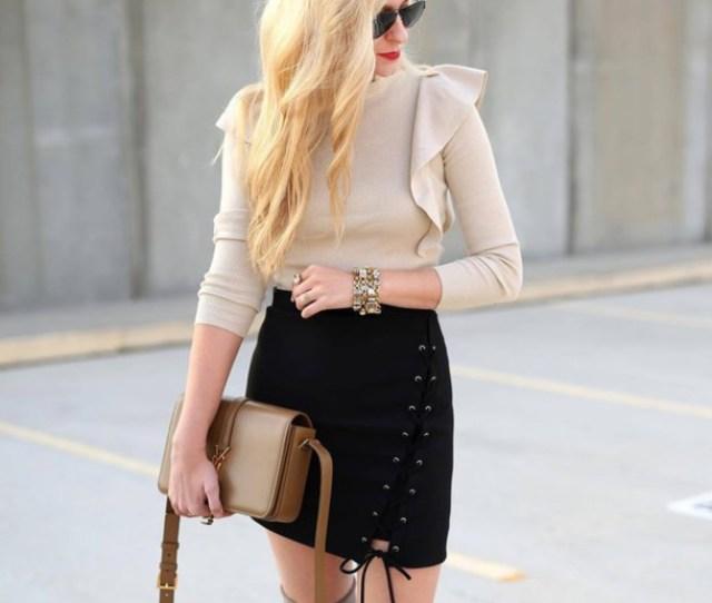 Skirt Tumblr Black Skirt Mini Skirt Lace Up Skirt Lace Up Sweater Beige Sweater Ruffle Ruffle