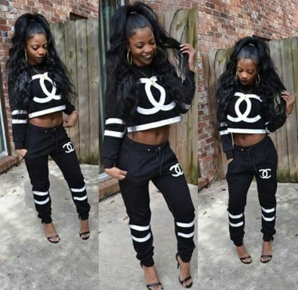 Sweater Crop Outfit Tumblr Outfit Baddies Bad Bitches Link Up Black Girls Killin It Two