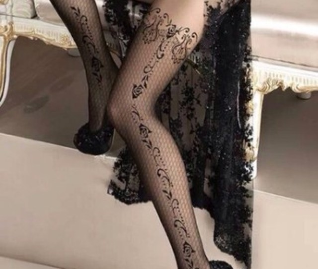 Underwear Nylon Tattoo Tights Tights Black Sexy Lingerie Lace High Heels Platform Shoes Stilettos