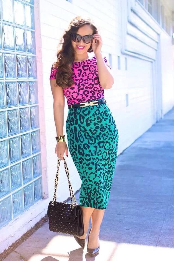 Dress Leopard Print Blue Pink Purple Green Bright