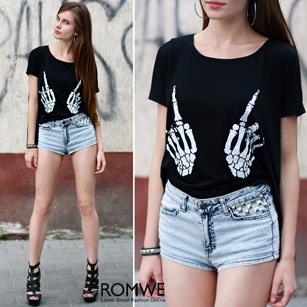 ROMWE   Skull Hand Black T shirt  The Latest Street Fashion