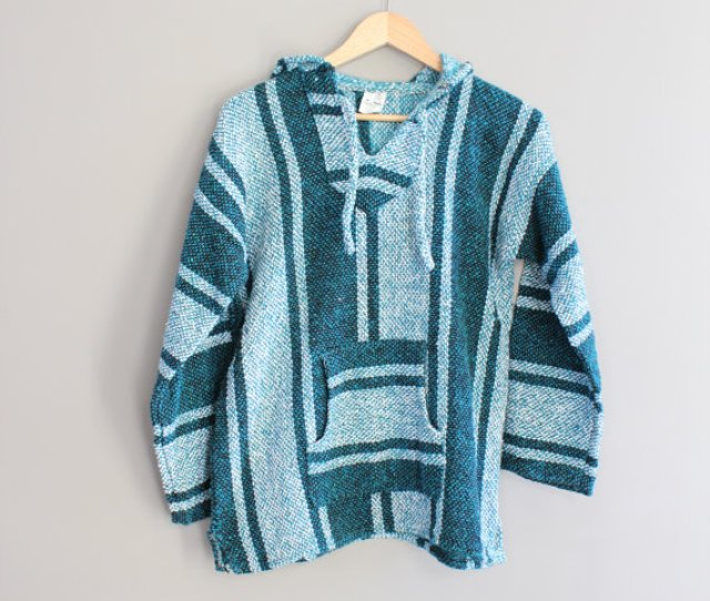Grunge Baja Pullover Turquoise Drug Rug Hippie Pixie Hooded Mexican Serape Hoodie Sweater Vintage Unisex Size