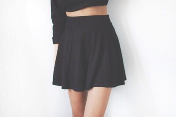 shirt black skater skirt skirt cute tumblr clothes short short skirt skater shorts black skater skirt high waisted stretch pleated skirt