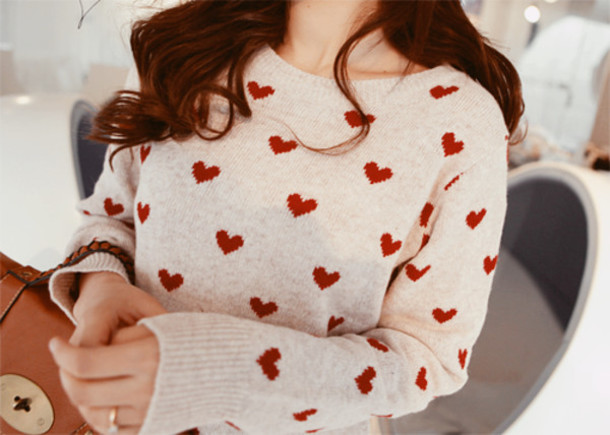 Sweater Heart Valentines Day Love White Red Girl