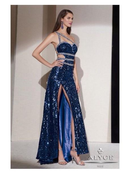 Dress Blue Sequin Leg Slit Blue Sequin Leg Split Prom