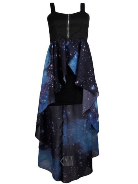 Dress Galaxy Print Black Blue Prom Homecoming Casual
