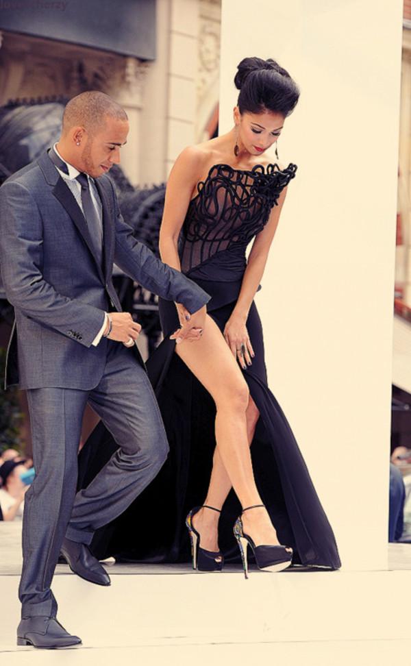 Dress Open Slit Long Black Dress Elegant Shoes Style