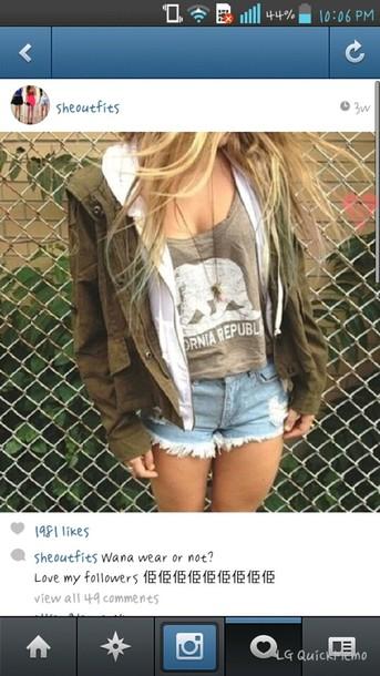 Shirt California Republic Top Shorts Jacket Girly