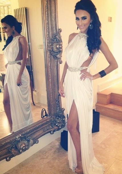 Dress Lilly Ghalichi White Greek Maxi Bling