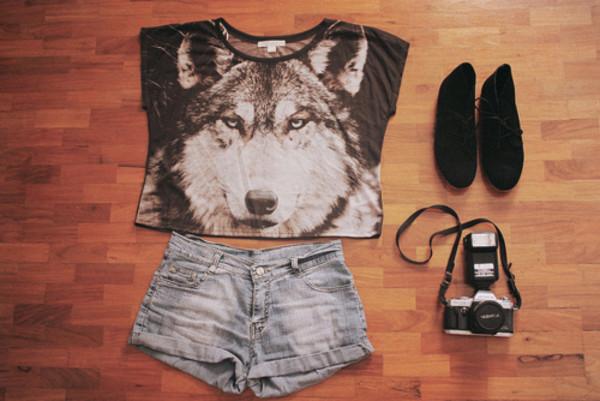 Wolf Shirt Animal TShirt Crop Top Tank Tops Women By HowDoiRock