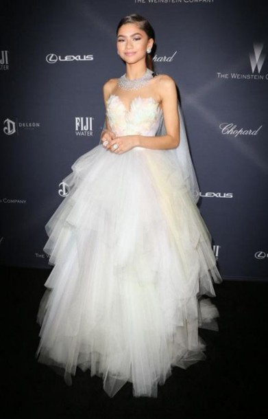 Dress Gown Necklace Zendaya Strapless Bustier Dress
