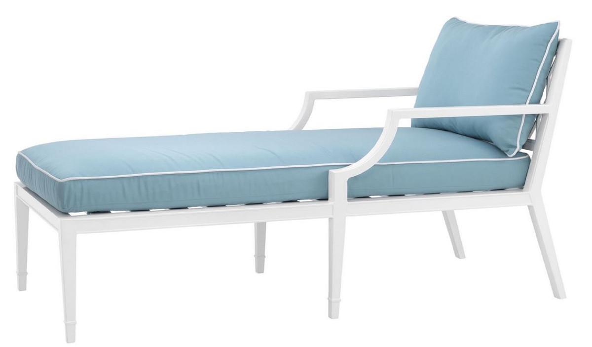 casa padrino luxus chaiselongue weiss hellblau 68 5 x 157 x h 79 cm liegesessel aus hochwertigen strapazierbarem aluminium wohnzimmermobel