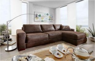 Leder Eckgarnitur Sofa Couch Eckcouch Leder dunkelbraun ...