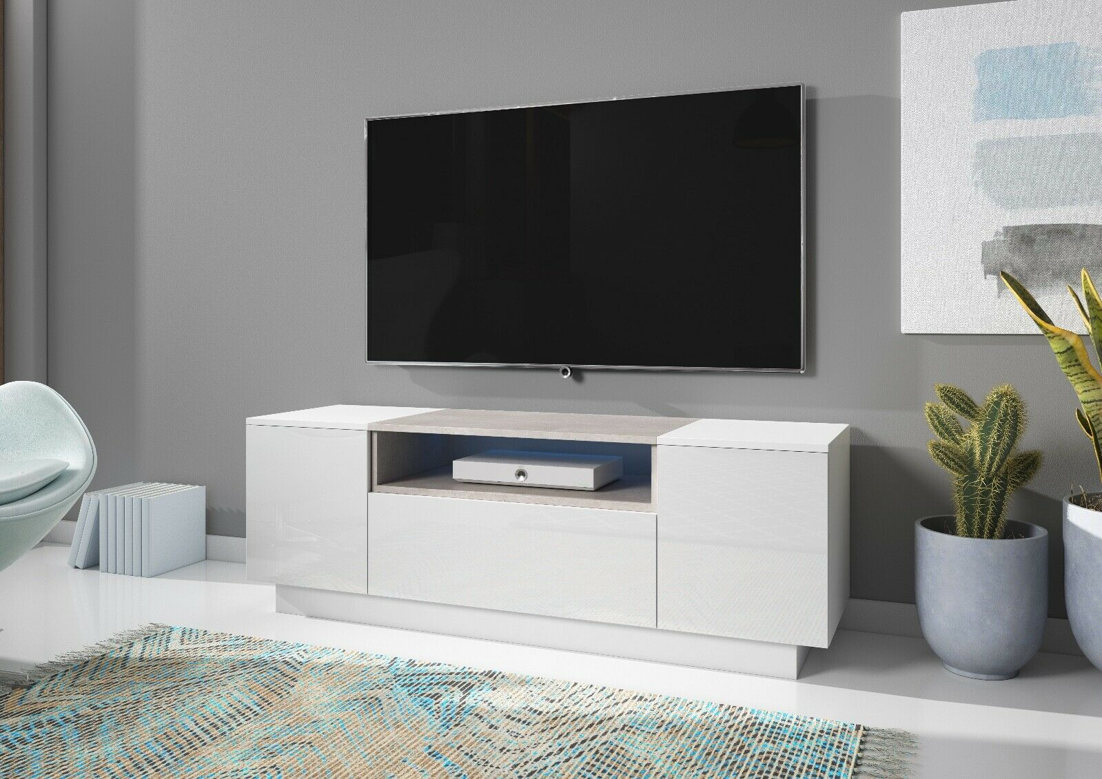 sideboard lowboard tv fernsehschrank rtv box 140 cm kommode inkl led highboard