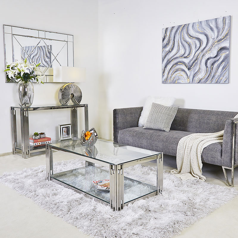 Colton Contemporary Stainless Steel And Glass Coffee Table Picture Perfect Home