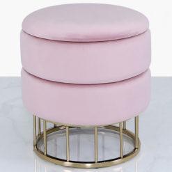 blush pink velvet and gold metal round storage ottoman stool
