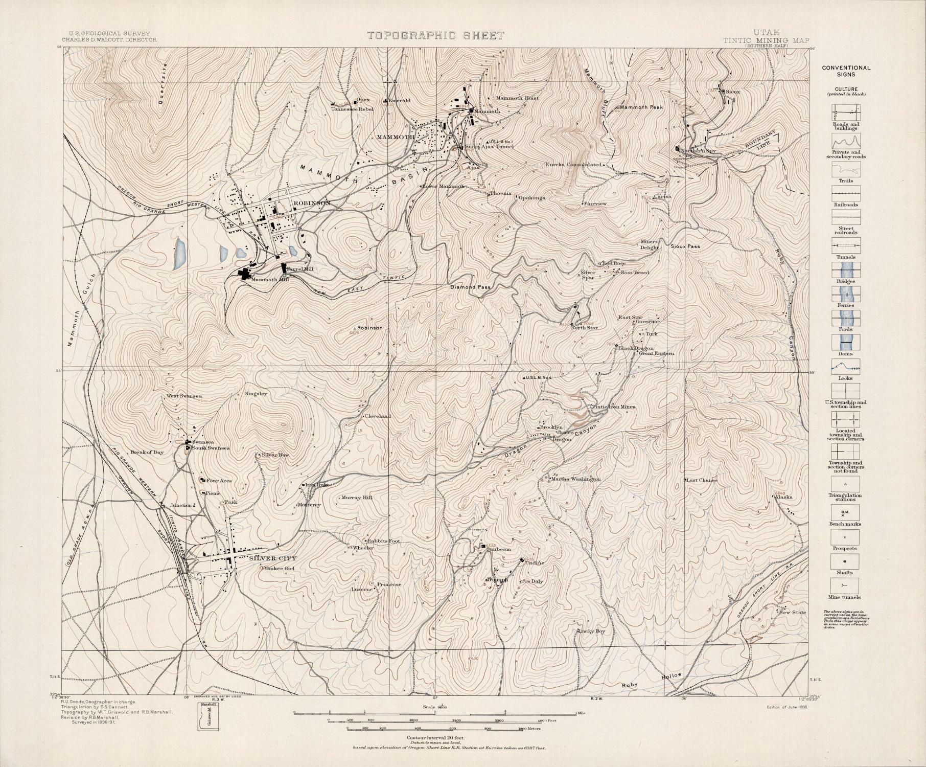 Tintic Mining Map Utah Southern Half
